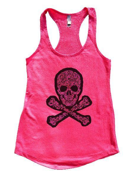 Skull Womens Workout Tank Top Funny Shirt Small / Hot Pink