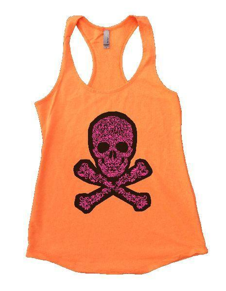 Skull Womens Workout Tank Top Funny Shirt Small / Neon Orange