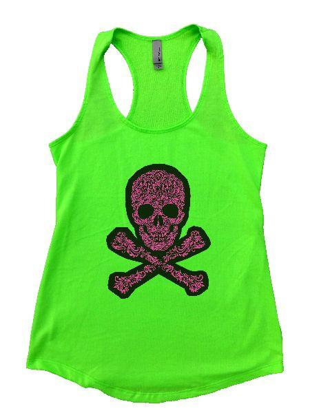 Skull Womens Workout Tank Top Funny Shirt Small / Neon Green