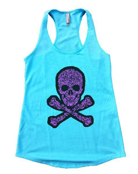 Skull Womens Workout Tank Top Funny Shirt Small / Cancun Blue