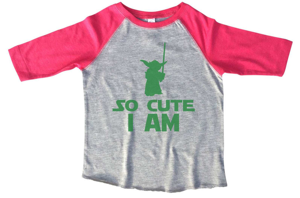 So Cute I Am BOYS OR GIRLS BASEBALL 3/4 SLEEVE RAGLAN - VERY SOFT TRENDY SHIRT B804 Funny Shirt 2T Toddler / Pink