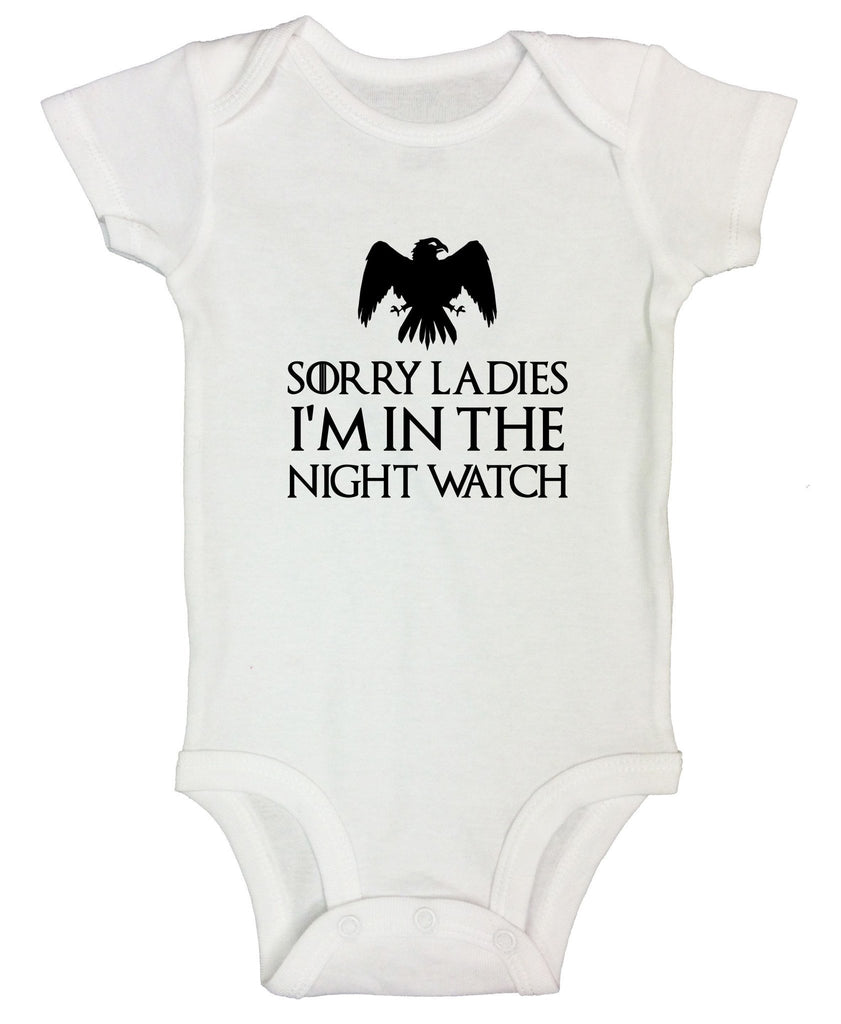 Sorry Ladies I'm In The Night Watch Funny Kids Onesie Funny Shirt Short Sleeve 0-3 Months