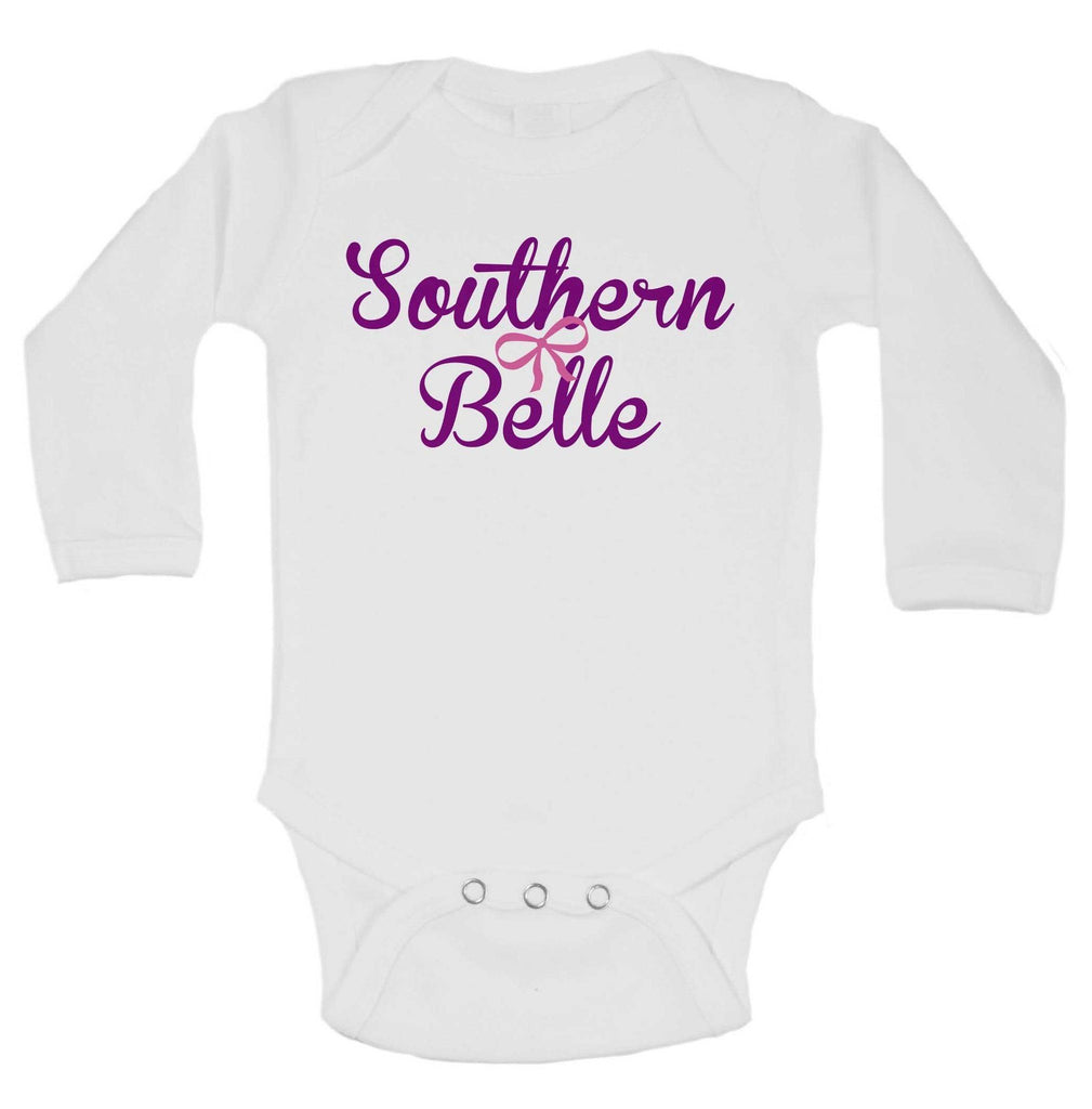 Southern Belle Funny Kids Onesie Funny Shirt Long Sleeve 0-3 Months