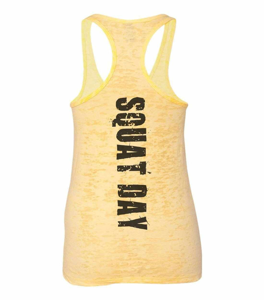 Squat Day Burnout Tank Top By Funny Threadz Funny Shirt Small / Yellow
