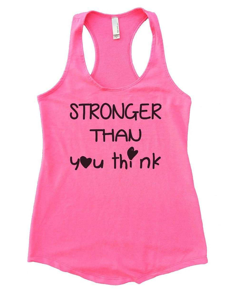 STRONGER THAN You Think Womens Workout Tank Top Funny Shirt Small / Heather Pink