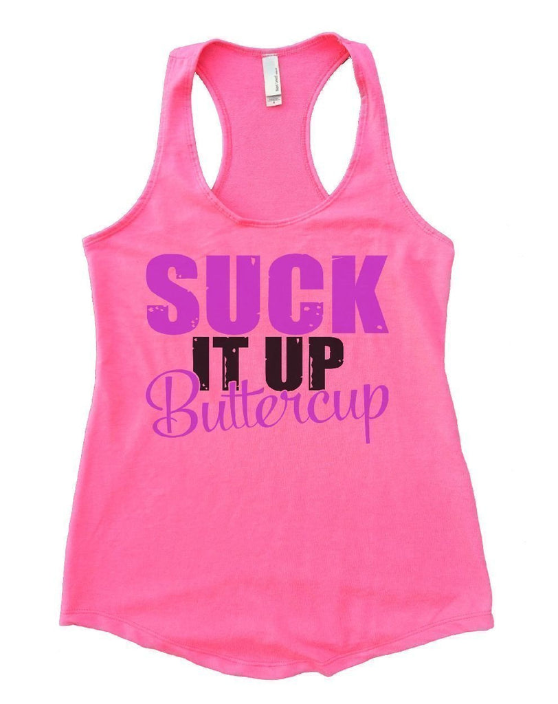 SUCK IT UP Buttercup Womens Workout Tank Top Funny Shirt Small / Heather Pink