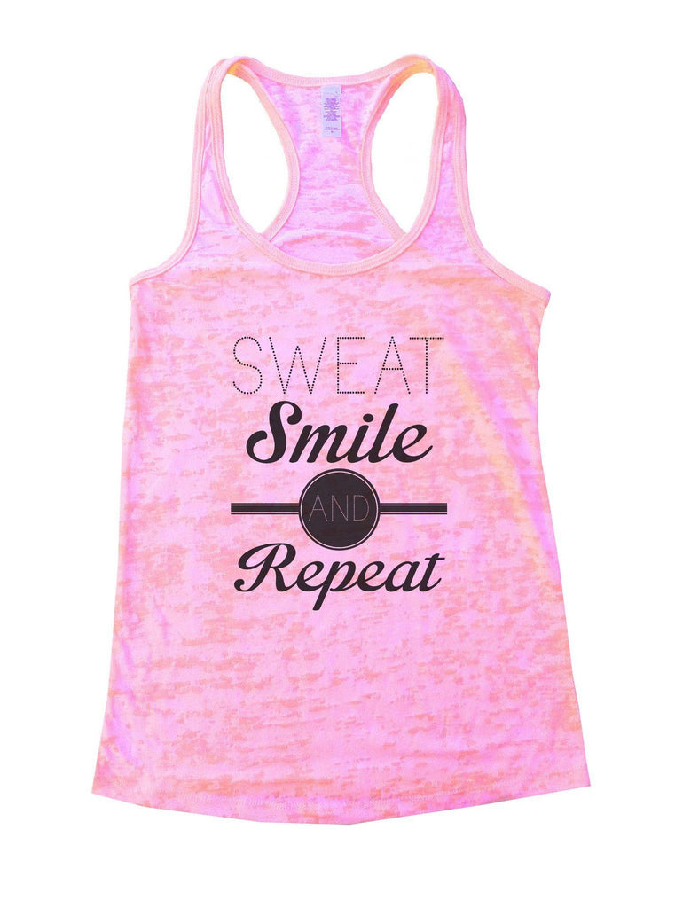 Sweat Smile And Repeat Burnout Tank Top By Funny Threadz Funny Shirt Small / Light Pink