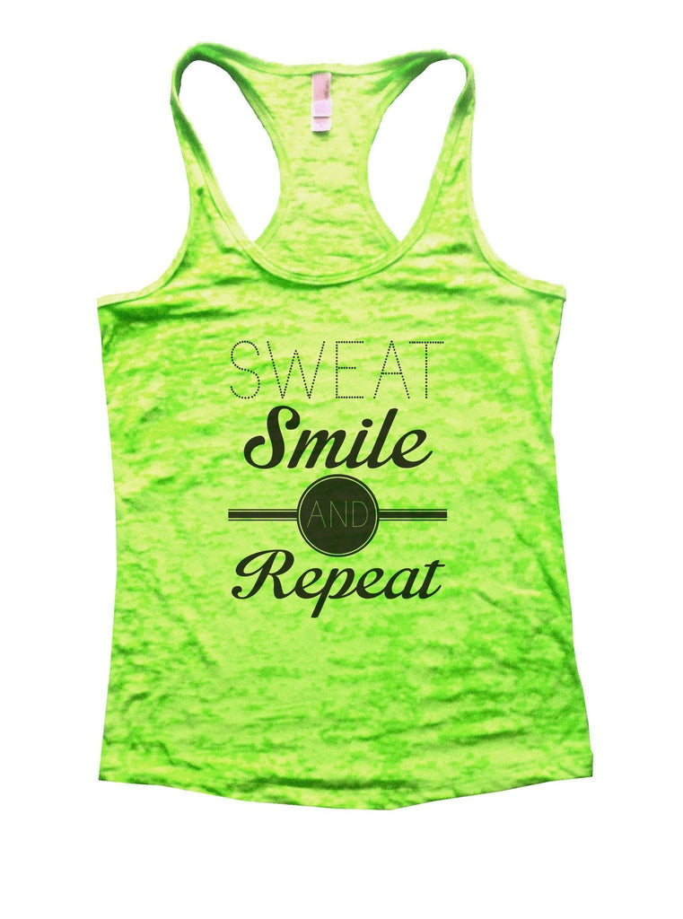 Sweat Smile And Repeat Burnout Tank Top By Funny Threadz Funny Shirt Small / Neon Green