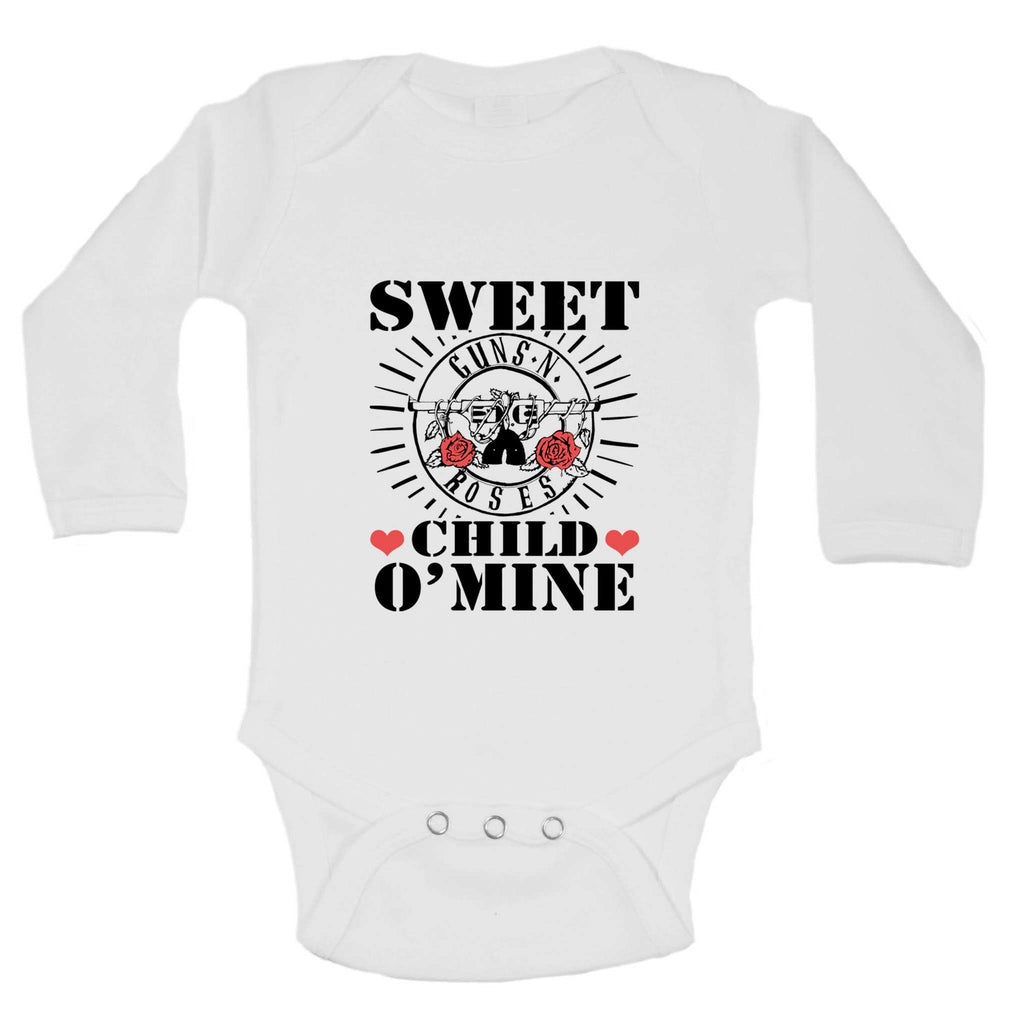 Sweet Child O'Mine Funny Kids Onesie Funny Shirt Long Sleeve 0-3 Months
