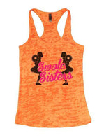 Swole Sisters Burnout Tank Top By Funny Threadz Funny Shirt Small / Neon Orange