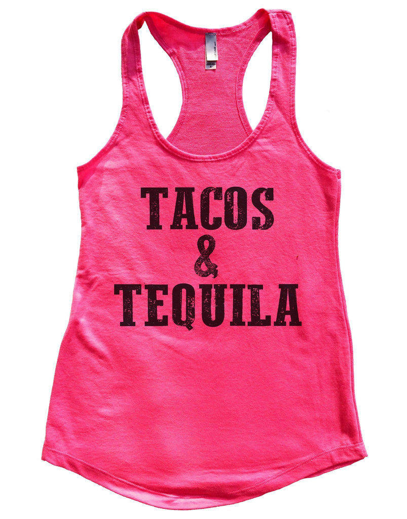 Tacos & Tequila Womens Workout Tank Top Funny Shirt Small / Hot Pink