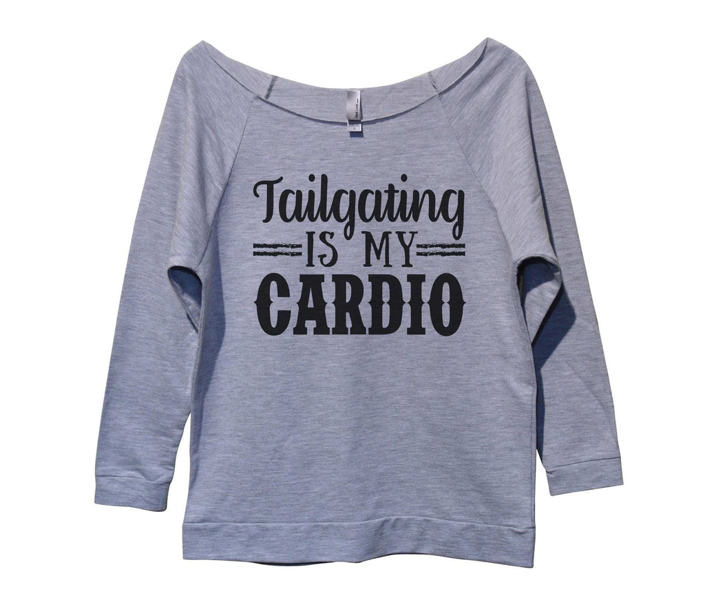 Tailgating Is My Cardio Womens 3/4 Long Sleeve Vintage Raw Edge Shirt Funny Shirt Small / Grey