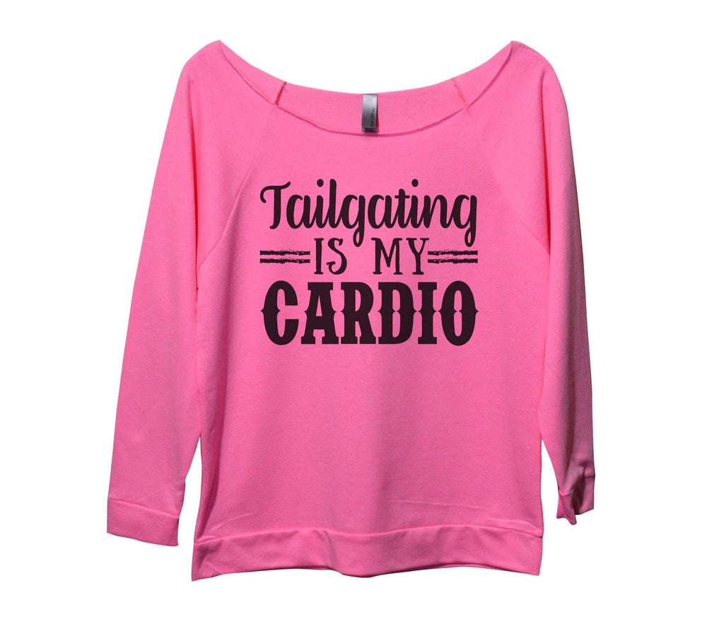 Tailgating Is My Cardio Womens 3/4 Long Sleeve Vintage Raw Edge Shirt Funny Shirt Small / Pink