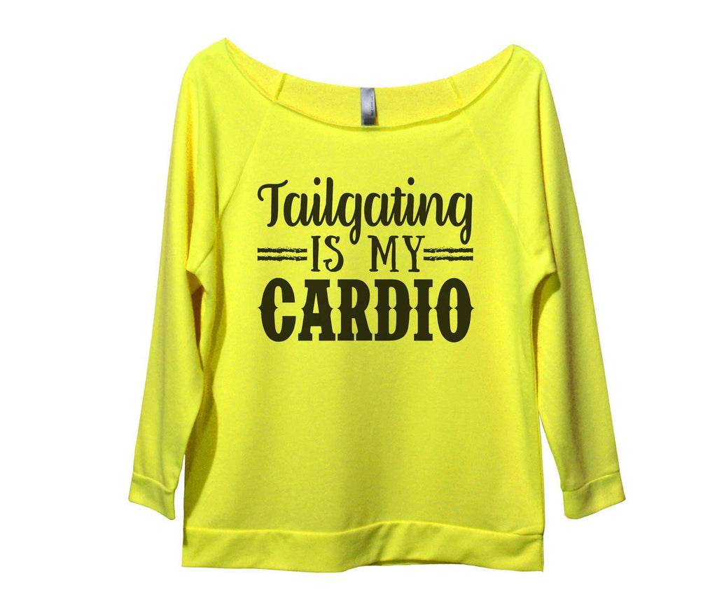 Tailgating Is My Cardio Womens 3/4 Long Sleeve Vintage Raw Edge Shirt Funny Shirt Small / Neon Yellow