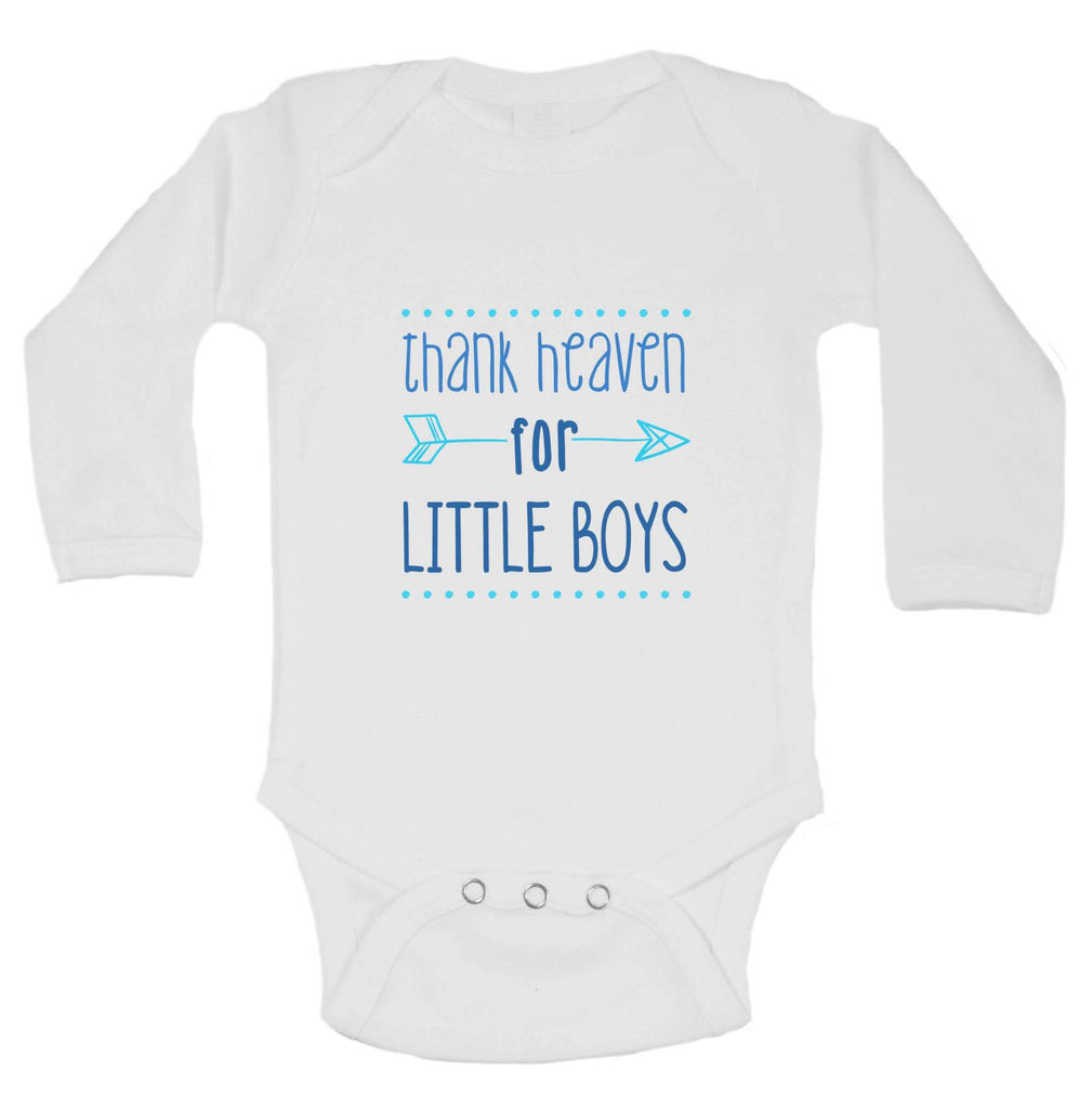 Thank Heaven For Little Boys Funny Kids Onesie Funny Shirt Long Sleeve 0-3 Months