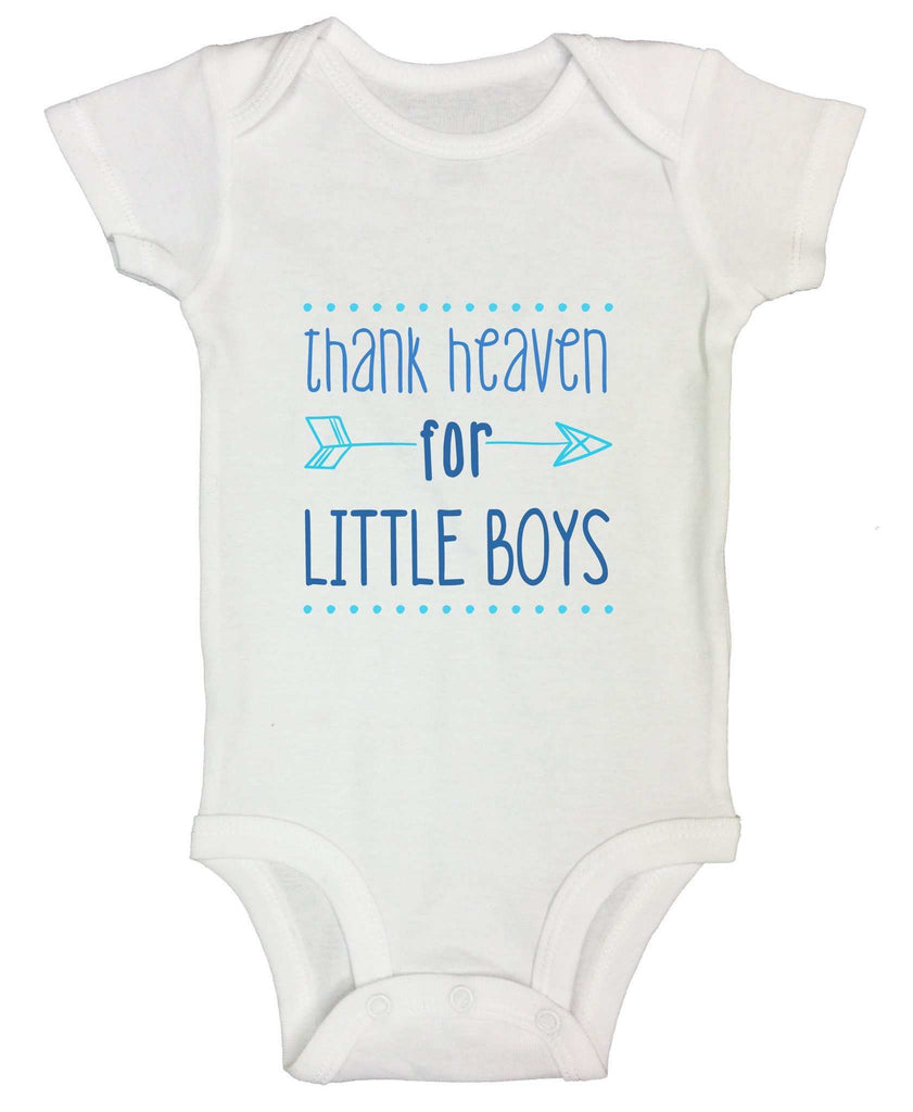 Thank Heaven For Little Boys Funny Kids Onesie Funny Shirt Short Sleeve 0-3 Months