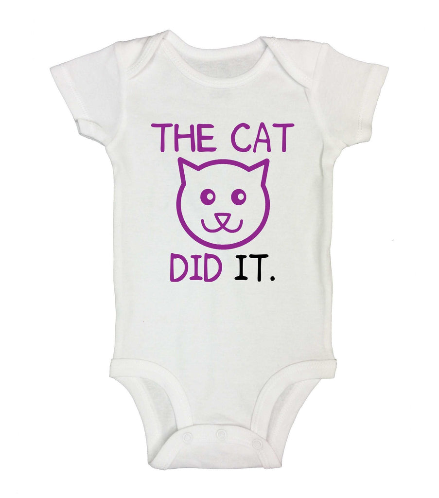 The Cat Did It Funny Kids Onesie Funny Shirt Short Sleeve 0-3 Months