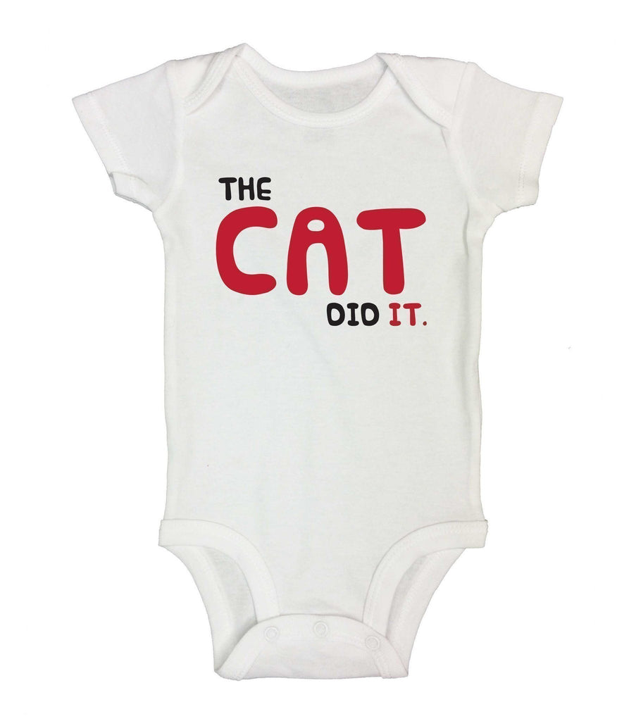 The Cat Did It. Funny Kids Onesie Funny Shirt Short Sleeve 0-3 Months