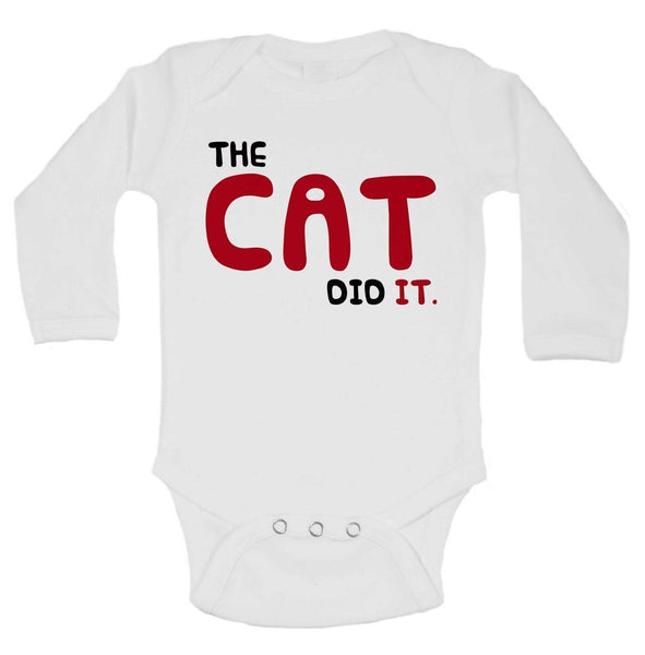 The Cat Did It. Funny Kids Onesie Funny Shirt Long Sleeve 0-3 Months