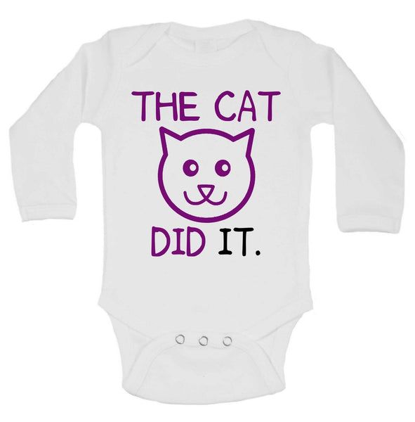 The Cat Did It Funny Kids Onesie Funny Shirt Long Sleeve 0-3 Months