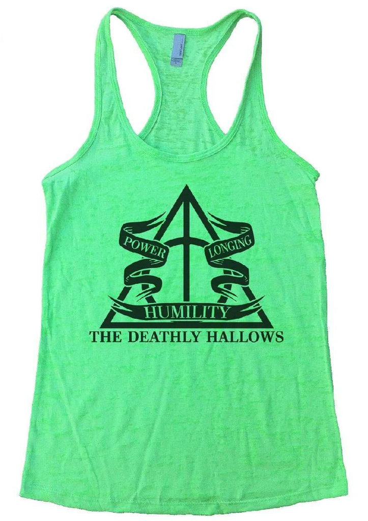 The Deathly Hallows Burnout Tank Top By Funny Threadz Funny Shirt Small / Neon Green