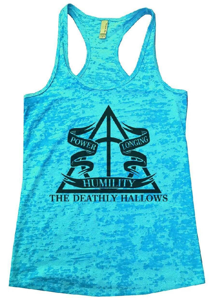 The Deathly Hallows Burnout Tank Top By Funny Threadz Funny Shirt Small / Tahiti Blue