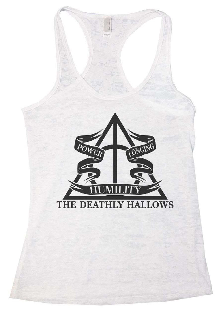 The Deathly Hallows Burnout Tank Top By Funny Threadz Funny Shirt Small / White