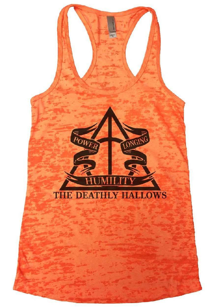 The Deathly Hallows Burnout Tank Top By Funny Threadz Funny Shirt Small / Neon Orange