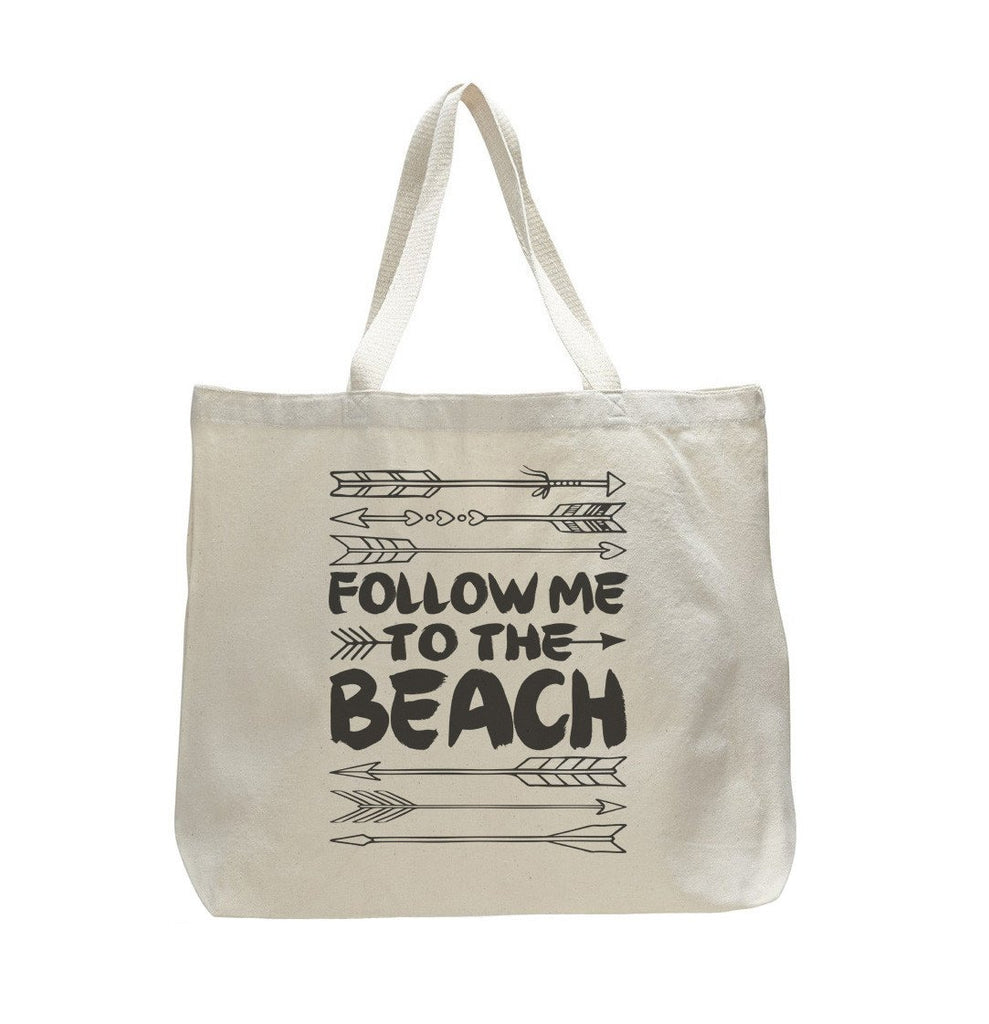 The Follow Me To The Beach - Trendy Natural Canvas Bag - Funny and Unique - Tote Bag - FunnyThreadz.com