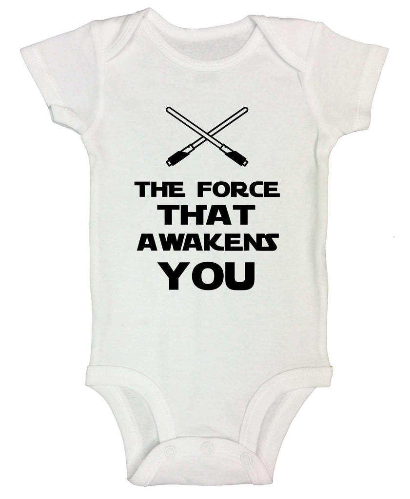 The Force That Awakens You Funny Kids Onesie Funny Shirt Short Sleeve 0-3 Months