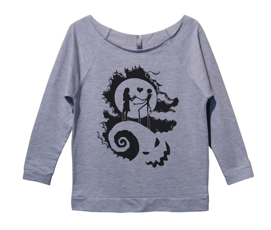 The Nightmare Before Christmas Womens 3/4 Long Sleeve Vintage Raw Edge Shirt Funny Shirt Small / Grey