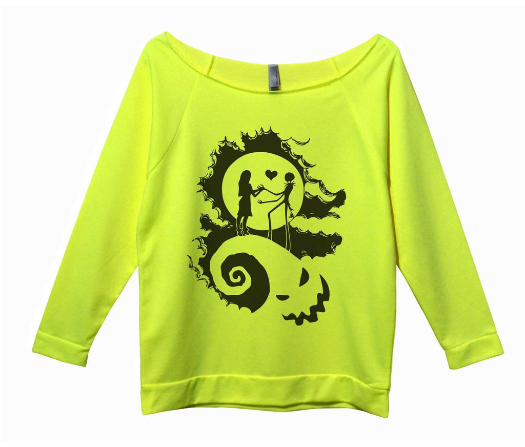 The Nightmare Before Christmas Womens 3/4 Long Sleeve Vintage Raw Edge Shirt Funny Shirt Small / Neon Yellow