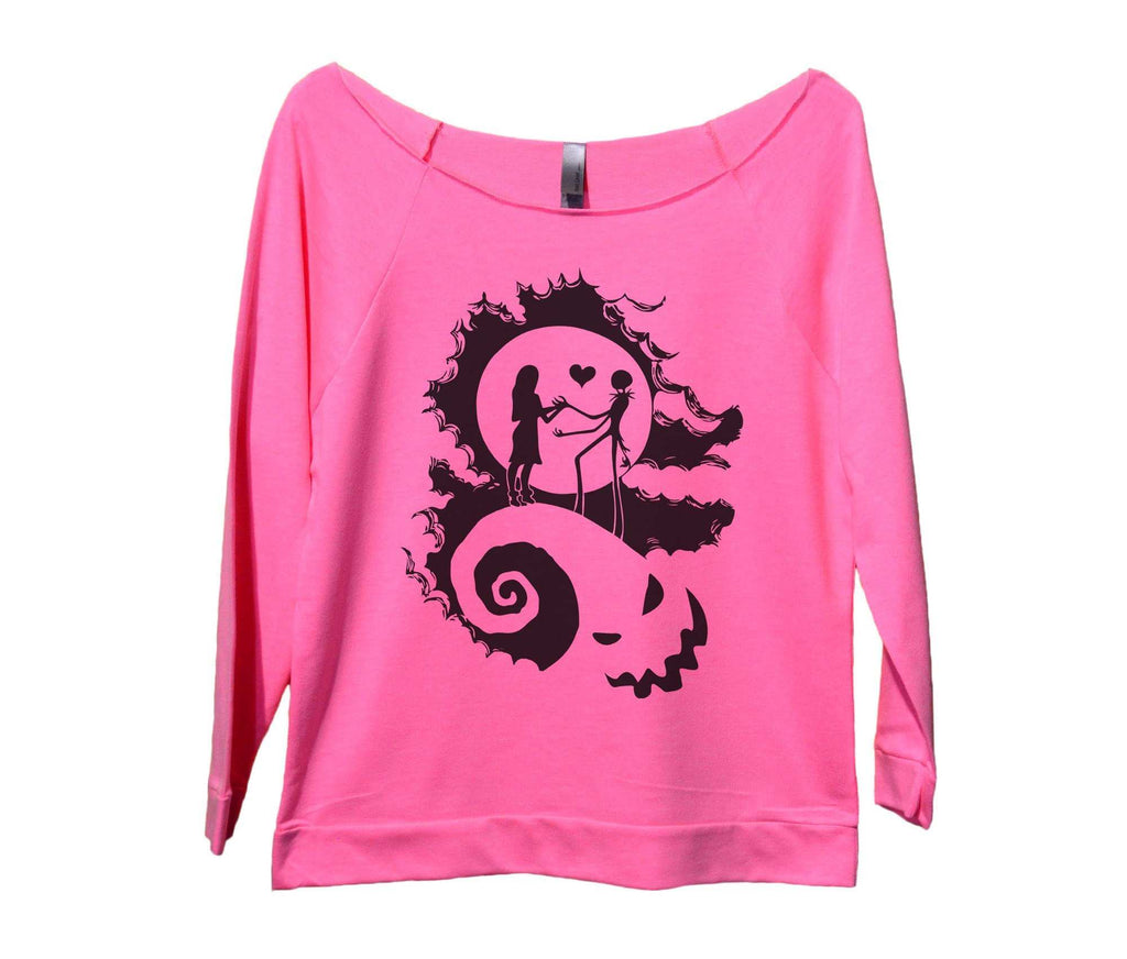 The Nightmare Before Christmas Womens 3/4 Long Sleeve Vintage Raw Edge Shirt Funny Shirt Small / Pink