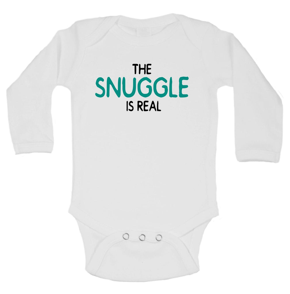 The Snuggle Is Real Funny Kids Onesie Funny Shirt Long Sleeve 0-3 Months