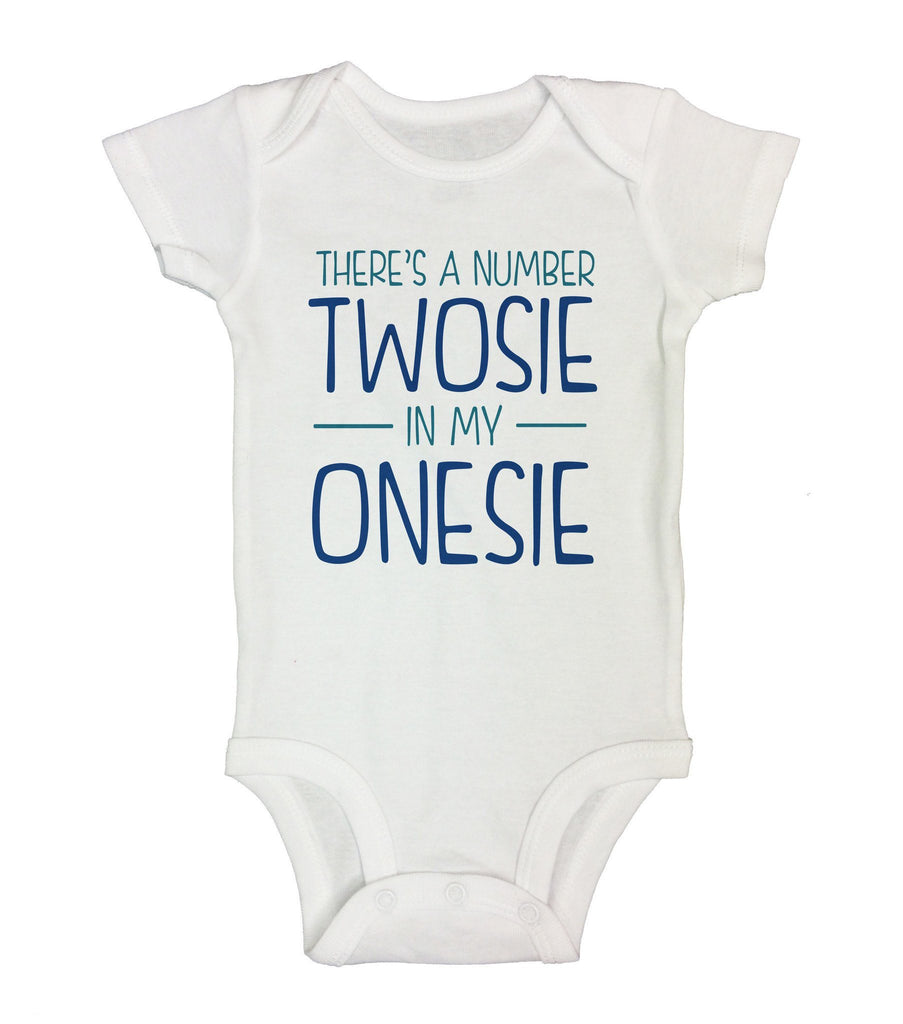 There's A Number Twosie In My Onesie Funny Kids Onesie Funny Shirt Short Sleeve 0-3 Months