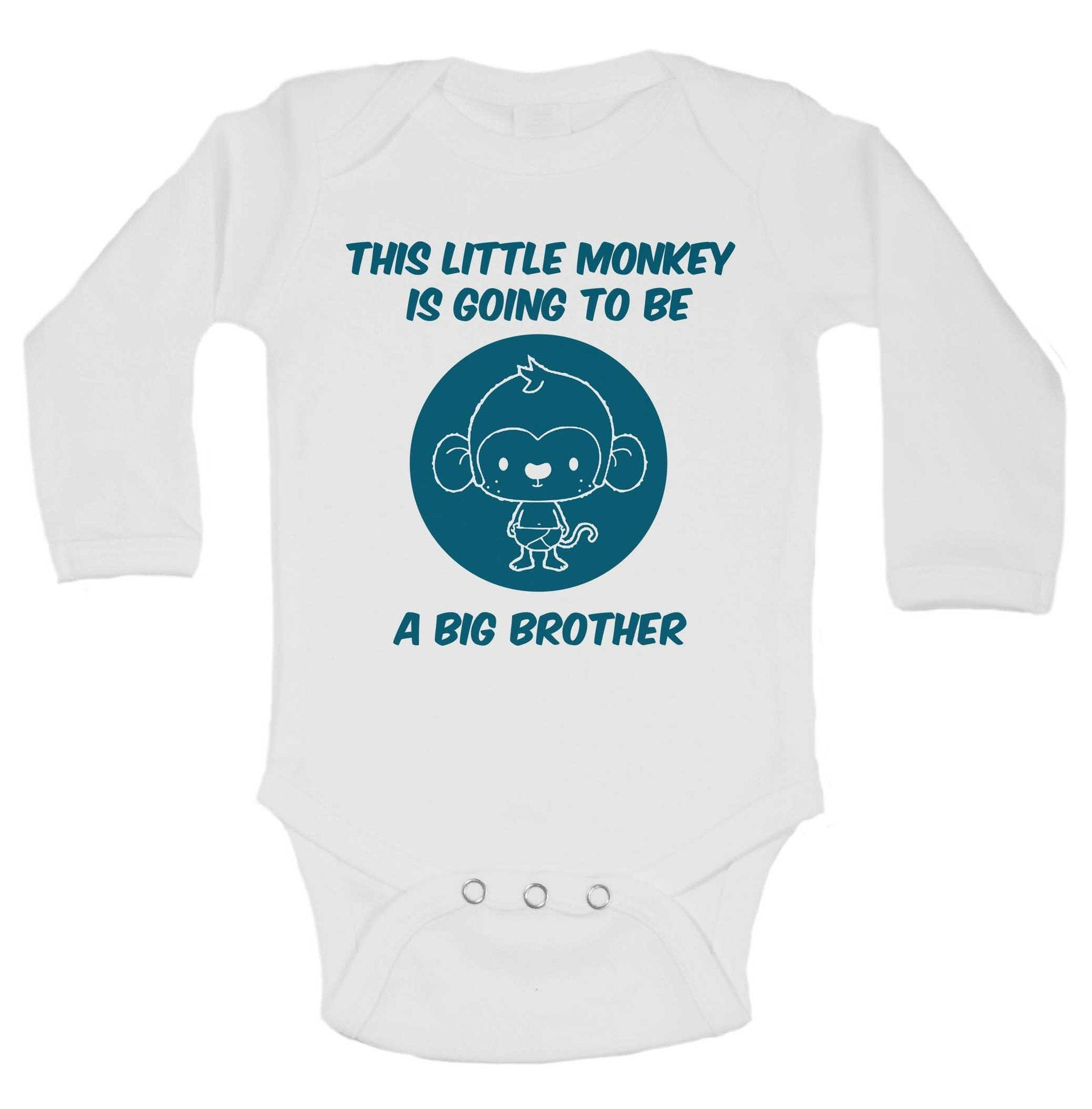 b4cb63655f This Little Monkey Is Going To Be A Big Brother Funny Kids Onesie