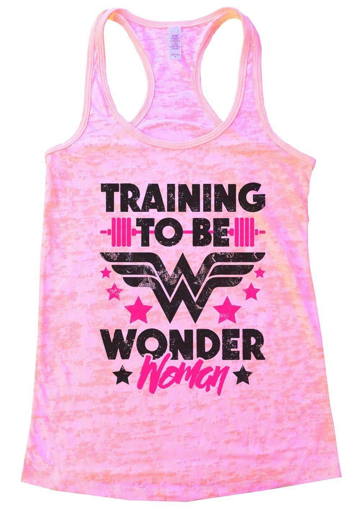TRAINING TO BE WONDER Woman Burnout Tank Top By Funny Threadz Funny Shirt Small / Light Pink