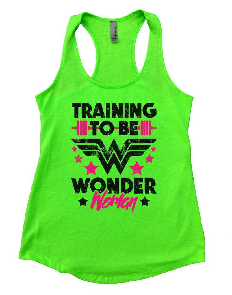 310dcc39f639ea ... TRAINING TO BE WONDER Woman Womens Workout Tank Top Funny Shirt Small    Neon Green ...