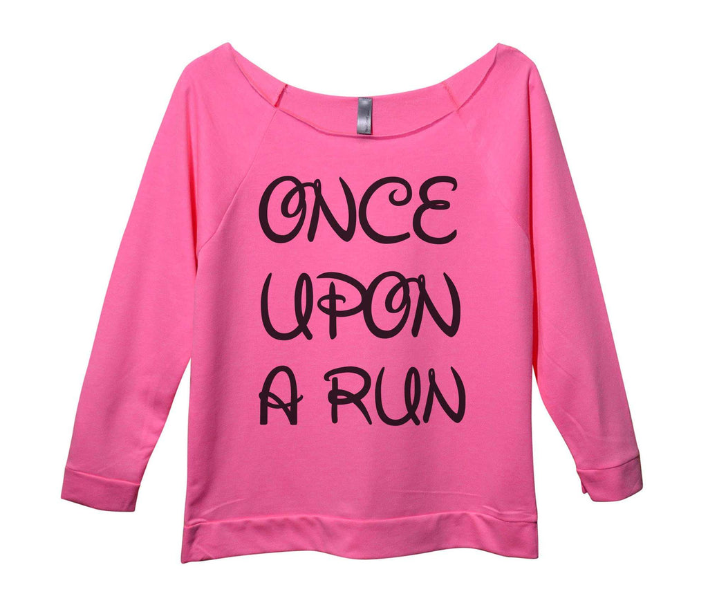 Unce Upon A Run Womens 3/4 Long Sleeve Vintage Raw Edge Shirt Funny Shirt Small / Pink