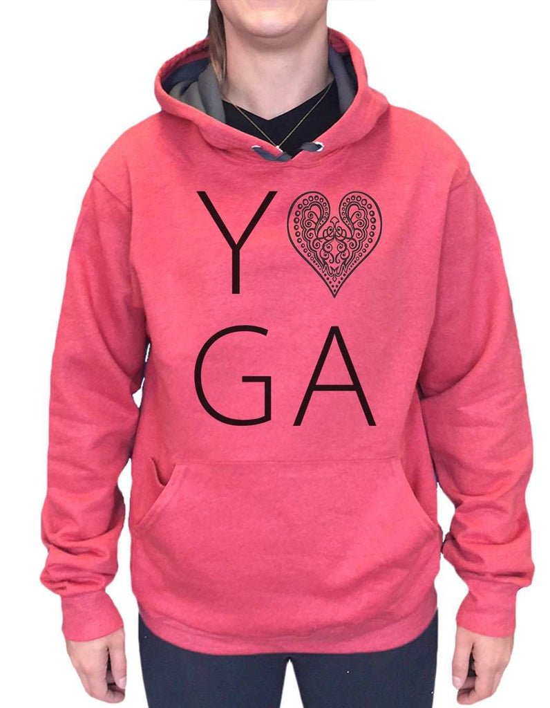 UNISEX HOODIE - Heart I Love Yoga - FUNNY MENS AND WOMENS HOODED SWEATSHIRTS - 2183 Funny Shirt