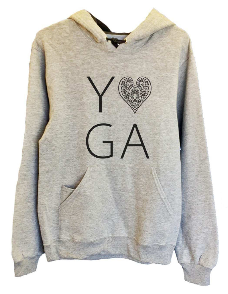 UNISEX HOODIE - Heart I Love Yoga - FUNNY MENS AND WOMENS HOODED SWEATSHIRTS - 2183 Funny Shirt Small / Heather Grey