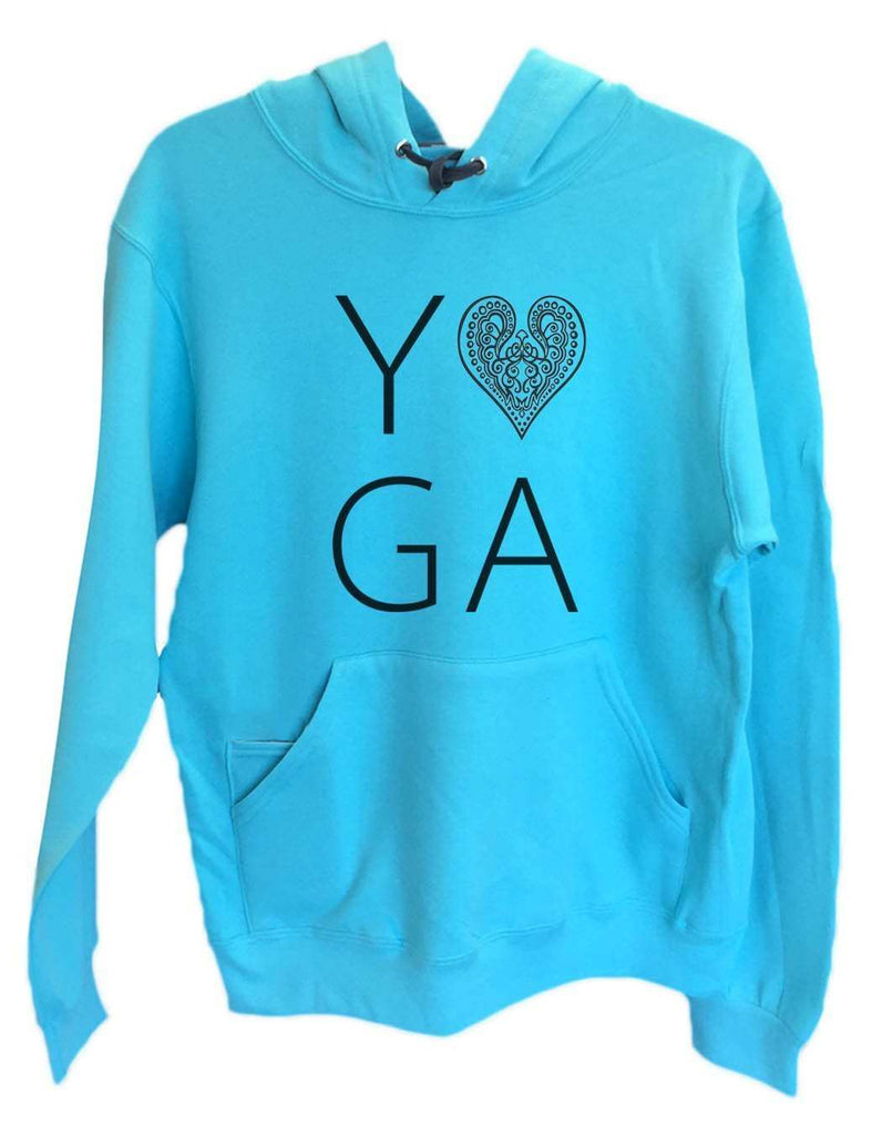 UNISEX HOODIE - Heart I Love Yoga - FUNNY MENS AND WOMENS HOODED SWEATSHIRTS - 2183 Funny Shirt Small / Turquoise