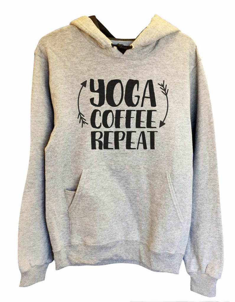 UNISEX HOODIE - Yoga Coffee Repeat - FUNNY MENS AND WOMENS HOODED SWEATSHIRTS - 2154 Funny Shirt Small / Heather Grey