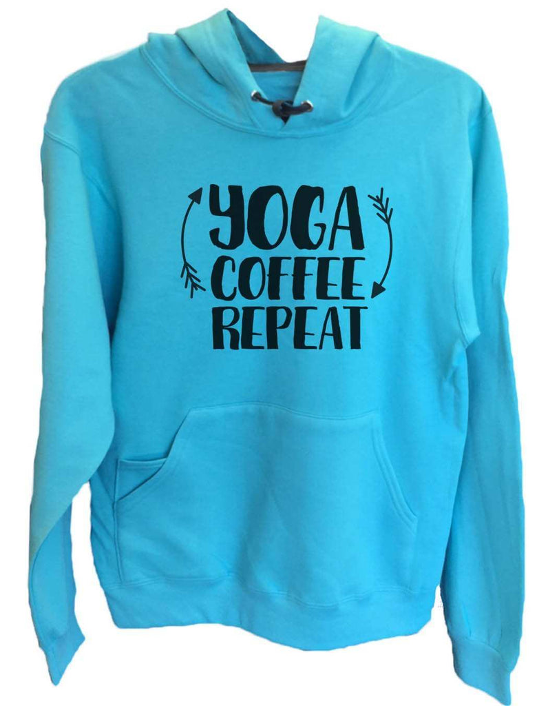 UNISEX HOODIE - Yoga Coffee Repeat - FUNNY MENS AND WOMENS HOODED SWEATSHIRTS - 2154 Funny Shirt