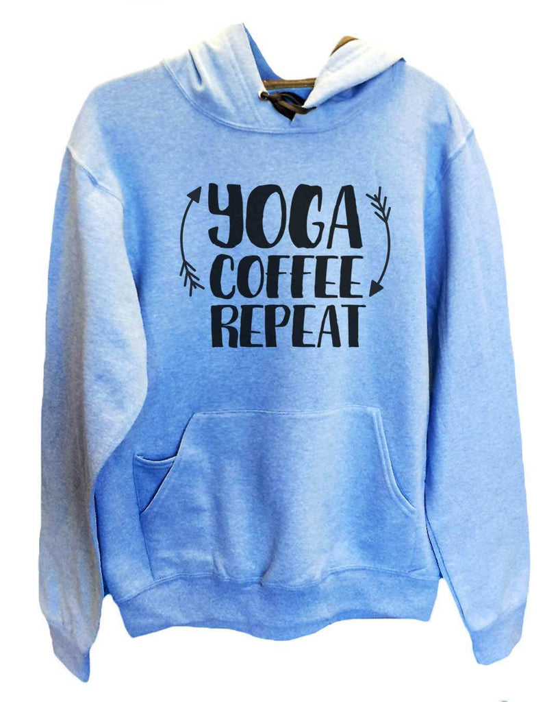 UNISEX HOODIE - Yoga Coffee Repeat - FUNNY MENS AND WOMENS HOODED SWEATSHIRTS - 2154 Funny Shirt Small / Turquoise