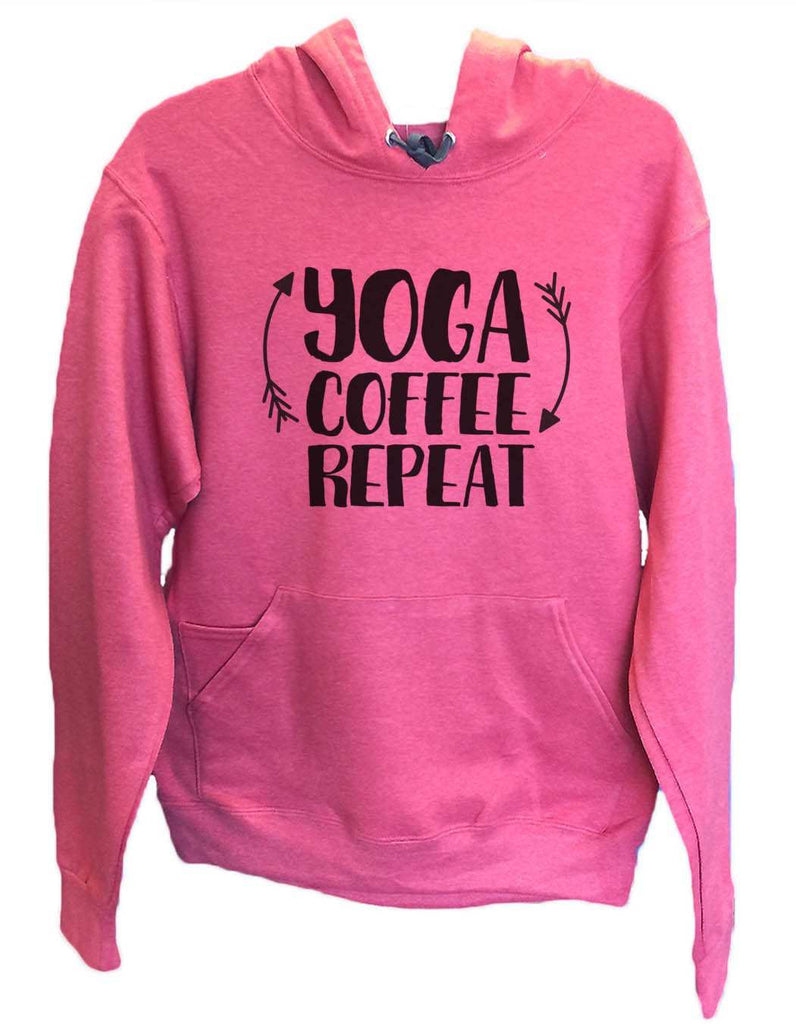 UNISEX HOODIE - Yoga Coffee Repeat - FUNNY MENS AND WOMENS HOODED SWEATSHIRTS - 2154 Funny Shirt Small / Cranberry Red