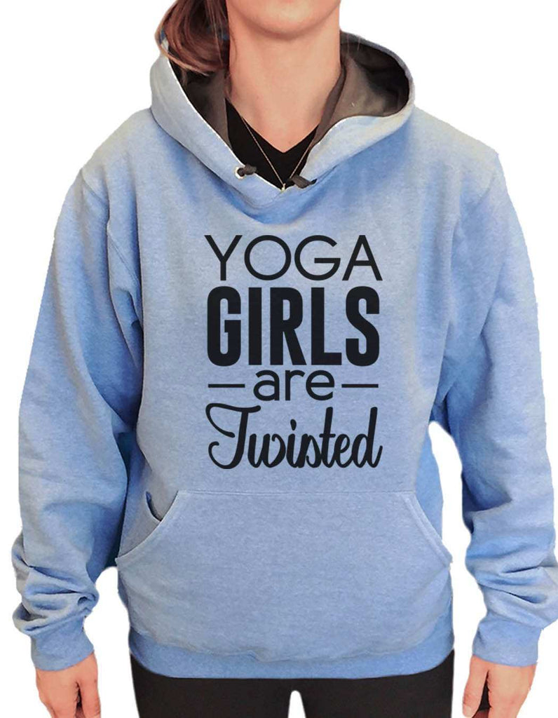UNISEX HOODIE - Yoga Girls Are Twisted - FUNNY MENS AND WOMENS HOODED SWEATSHIRTS - 2120 Funny Shirt Small / North Carolina Blue