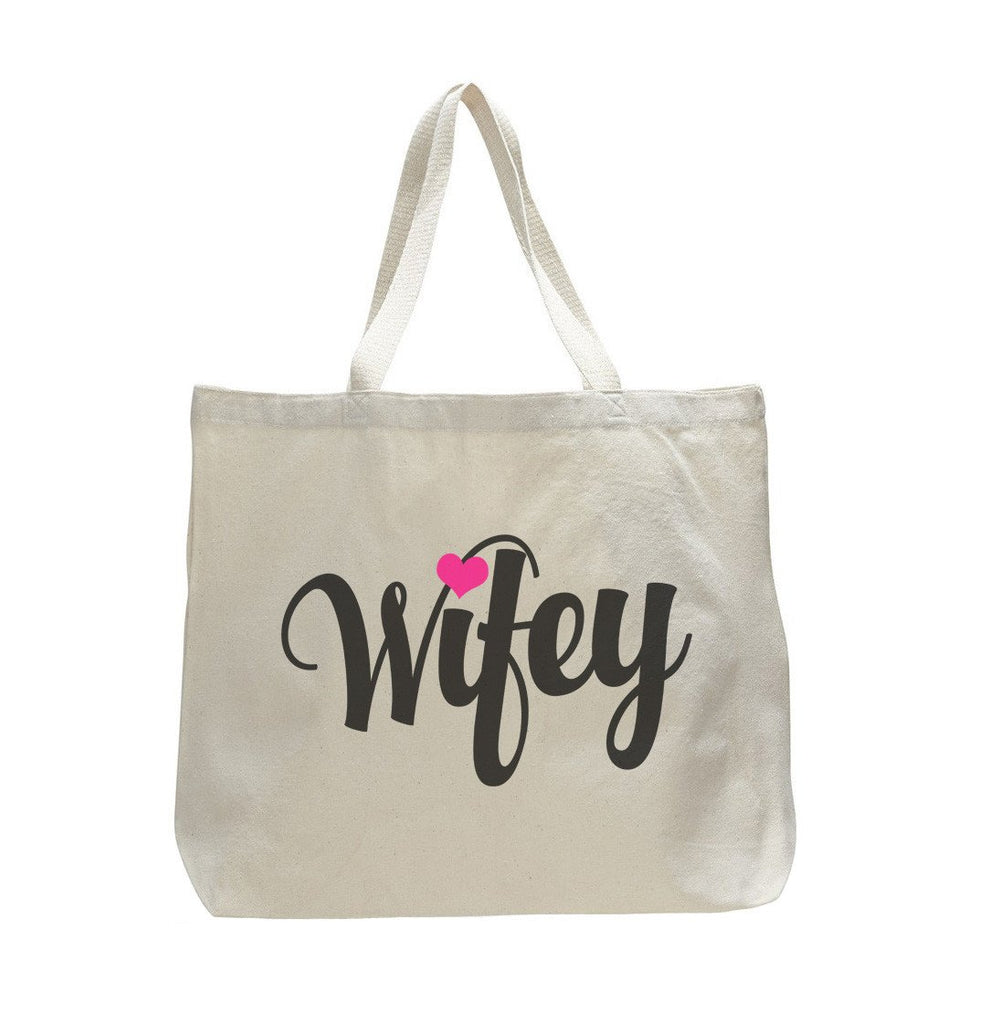 Wifey - Trendy Natural Canvas Bag - Funny and Unique - Tote Bag Funny Shirt