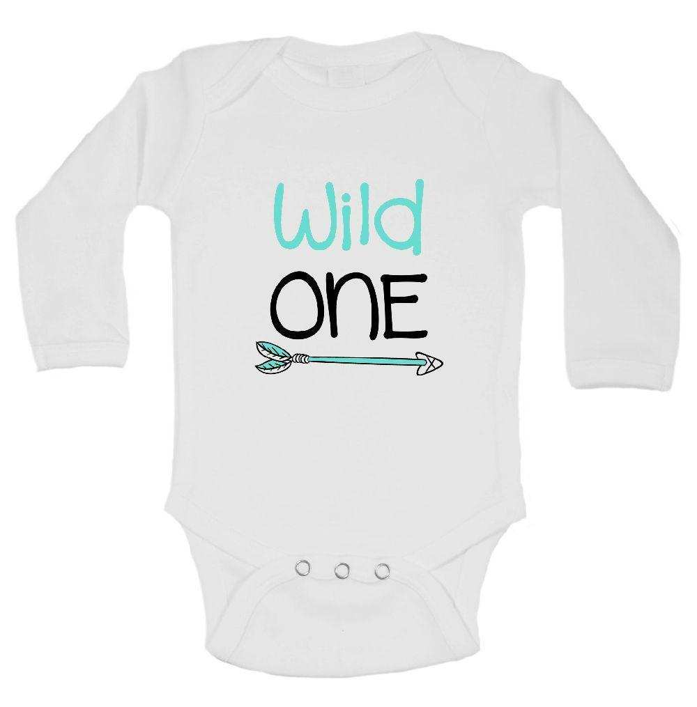 Wild One FUNNY KIDS ONESIE Funny Shirt Long Sleeve 0-3 Months