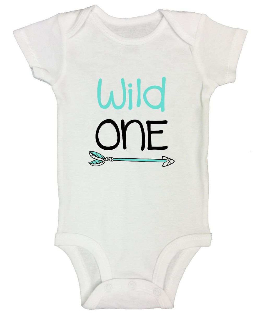 Wild One FUNNY KIDS ONESIE Funny Shirt Short Sleeve 0-3 Months